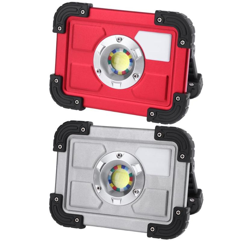 Portable 20W COB LED Waterproof Searchlight Work Lamp Camping Outdoors USB Rechargeable 18650 Battery Floodlight E5M1 portable cob led work light waterproof outdoor usb rechargeable lamp searchlight vehicle maintenance emergency camping lamp