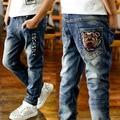 2015 Nuevos muchachos de la manera ropa infantil chicos vaqueros niños pantalones vaqueros otoño pantalones de mezclilla para niños muchacho adolescente pantalones 4-12 T