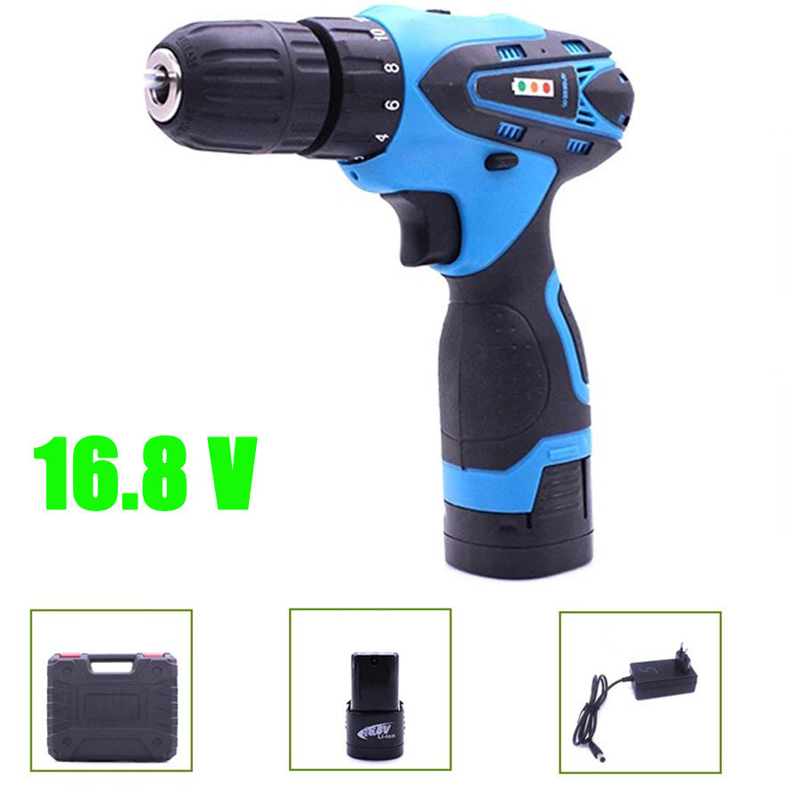 VOTO Battery Rechargeable Cordless Drill Electric Screwdriver Set Lithium Power Tools Screw Gun Driver 16.8V With CaseBlue 2018 насос dab nova 200 m na