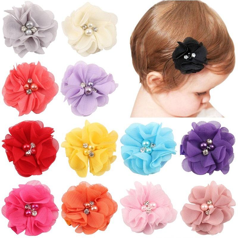2.5 inch Pearl Diamond Headdress Flower Hair Accessories New Born Teens Girl Hairpin Children Fashion Elastic Hairclip Hairbow цены