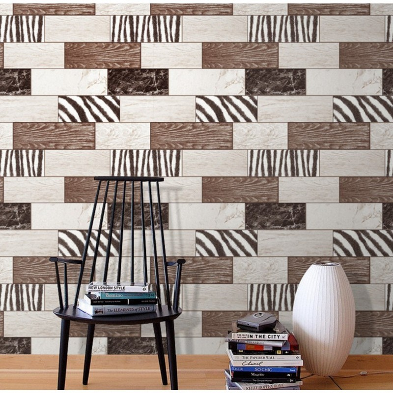 Free Shipping Modern leopard wood grain personalized living room TV background wallpaper clothing shop grid brick wallpaper chinese style wood grain wallpaper living room tv background wall hotel clothing shop tea house coffee shop circle home decor