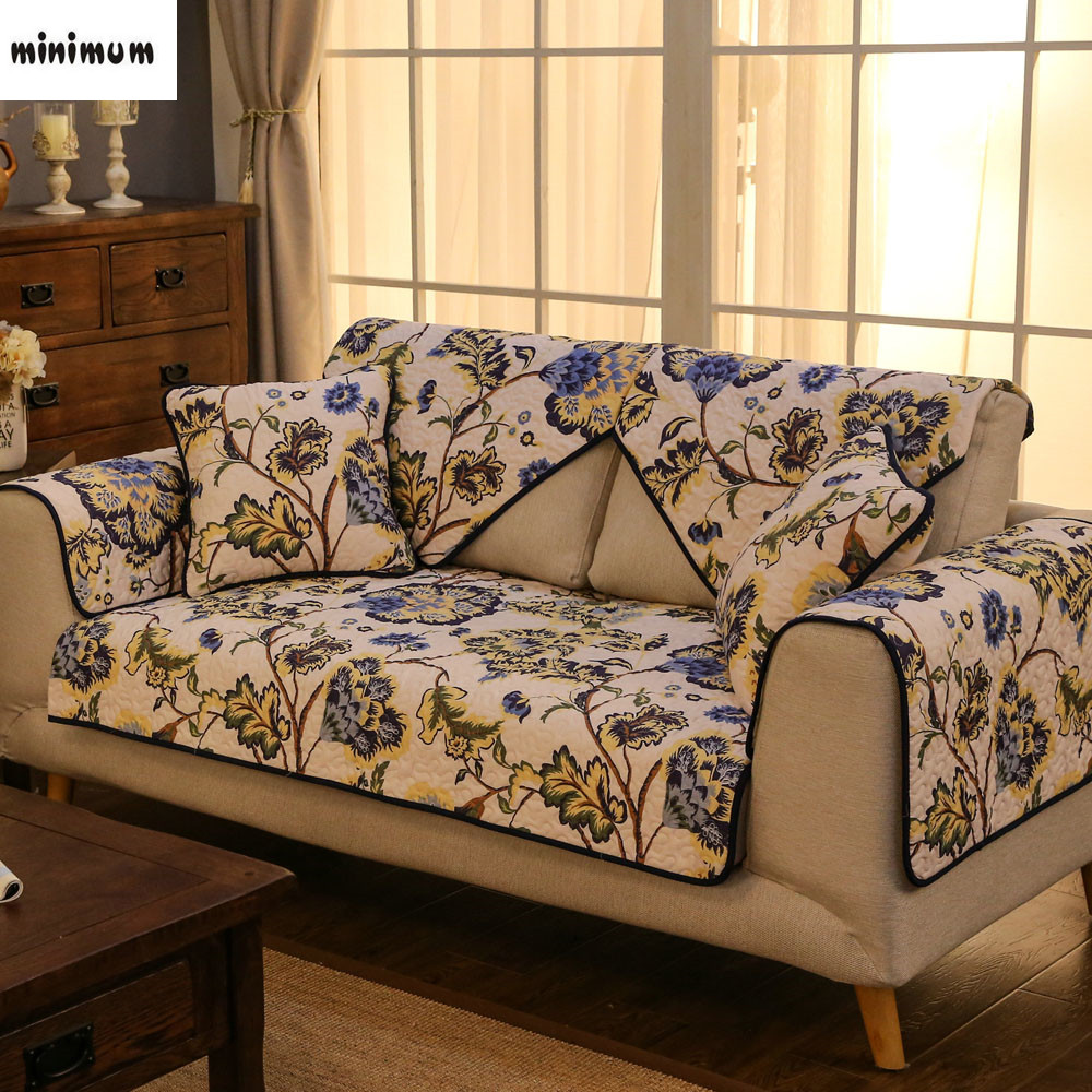 Pastoral Style Cotton Twill Anti   Skid Sofa Mat Four Seasons Universal  Flower Cloth Sofa Cushion Sofa Cover Towel Cover