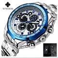 Hombres grandes del dial marca wwoor reloj de acero hombres reloj militar hombres relojes luminosos impermeables relojes de pulsera relogio masculino