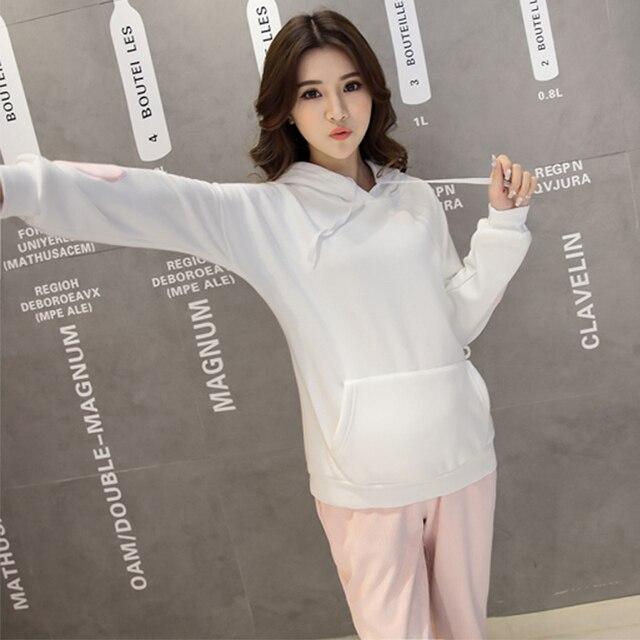 782a20057e4 Conjuntos de las mujeres Para Las Mujeres Embarazadas Blanco Canguro  Chaqueta + Traje Pantalón de Pana