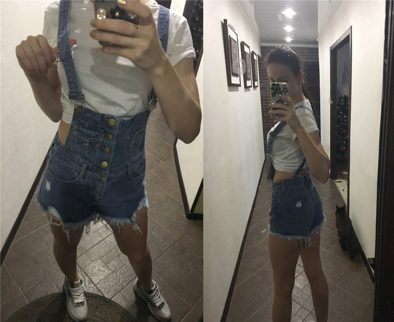 The new college wind denim strap shorts female summer hole loose Korean students was thin sling tide (22)