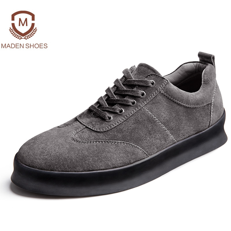 Maden 2018 Spring Cow Suede Men Sneakers Height Increasing Platform Flats British High Quality Genuine Leather Casual Shoes