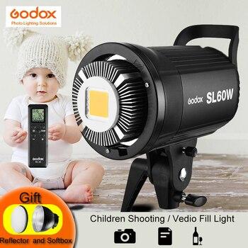 Godox SL-60W Белый версия светодио дный видео светодиодные лампы непрерывного 5600 К к Вт 60 Вт Bowens крепление стробоскоп вспышки света для фотостуди...