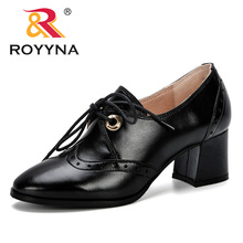 ROYYNA 2019 New Women high Heels Sexy Leather Shoes Women Pumps Party Thick Heel Pointed Toe Trendy Shoes Woman Office Shoes coolcept 4 color size 33 43 sexy women high heel shoes women pointed toe thick heel pumps office lady party shoes women footwear