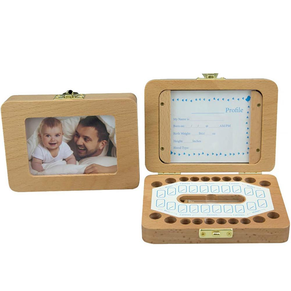 HobbyLane Delicate Baby Wooden Tooth Save Box Souvenir Box Milk Teeth Organizer Holder Case With Photo Frame And Cards