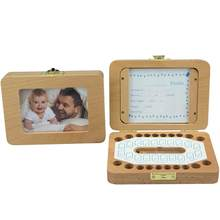 HobbyLane Delicate Baby Wooden Tooth Save Box Souvenir Box Milk Teeth Organizer Holder Case with Photo Frame and Cards(China)