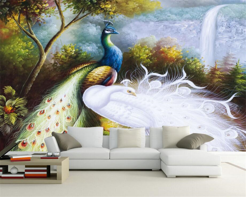 Beibehang Home Decoration Wallpaper Hand Painted Peacock European Oil Painting TV Sofa Background Wall Mural Photo 3d Wallpaper