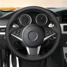 High quality Black Artificial Leather anti-slip customized car steering wheel cover For BMW E60 530d 545i 550i E61 Touring 2005