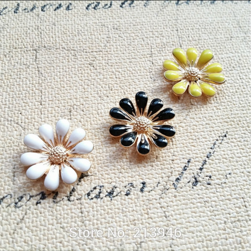 Marguerite Flat-Back Jewelry Charms Glazing-Alloy Gold-Color No 18MM 45pcs No-Hole No-Hole