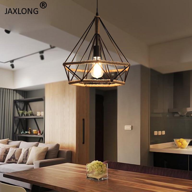 American Country Style Retro Industrial Wind Hemp Rope LED Pendant Lights Loft Creative Iron Diamond Decor Lighting Lamp