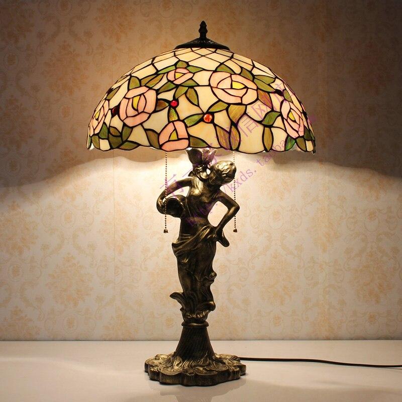 Настольная лампа Тиффани классический европейский барокко пятнистости Стекло ночники E27 110 240 В