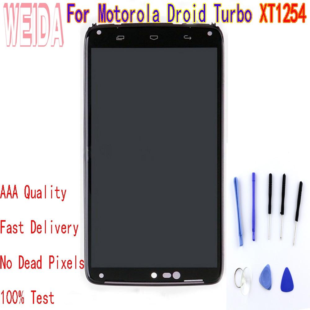 Motorola Droid Turbo için XT1254 XT1225 lcd ekran dokunmatik ekranlı sayısallaştırıcı grup çerçeve ile ücretsiz araç ile