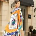 Invierno Mujeres Bufanda de Seda de la Tela Cruzada 130*130 cm Moda Europea Pasear Paris Imprimir Bufandas Cuadradas de Regalo de Calidad de la Marca Grande Mantón de lujo