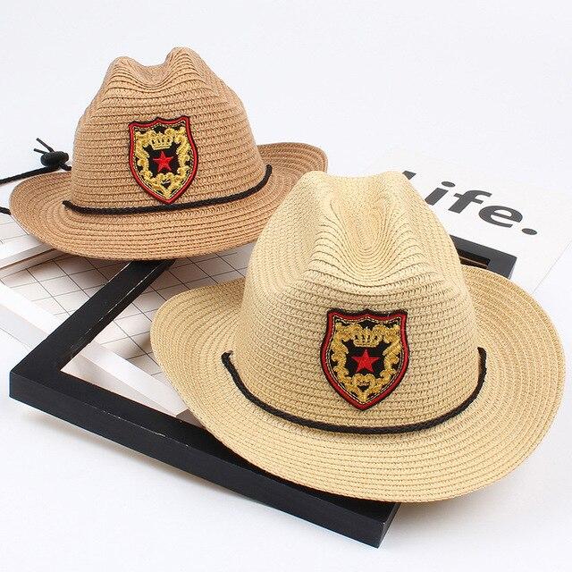 New summer big eaves boy straw hat children together jazz cap private  cowboy hat beach sun hat 4002a7743bf