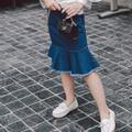 Новый 2017 девушки труба юбка дети эластичные юбки дети листьев лотоса джинсовая юбка мода малыш одежда, 2-7Y