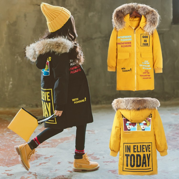 2018 winter jacket for girls Korean 4-13 years old girls down coats girl winter fur collar children's parkas hot CARTOON print подсвечник stilars подсвечник page 1