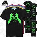 Cara de la sonrisa de los hombres top camiseta Nirvana smiley face t-shirt facebook gustos ok resplandor camiseta