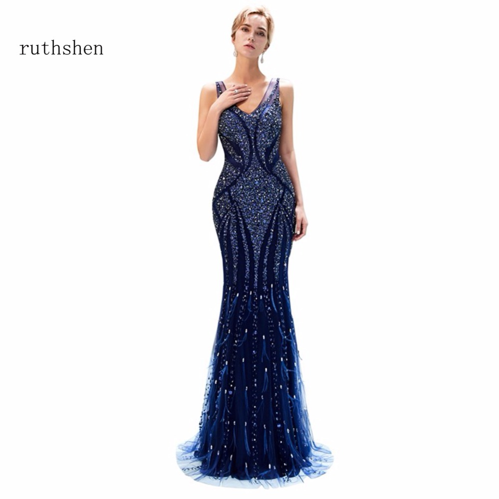 ruthshen Vestidos De Gala Largos Sleeveless   Prom     Dresses   Long Floor Length Party Gowns Elegant V Neck Mermaid Formal   Prom     Dress