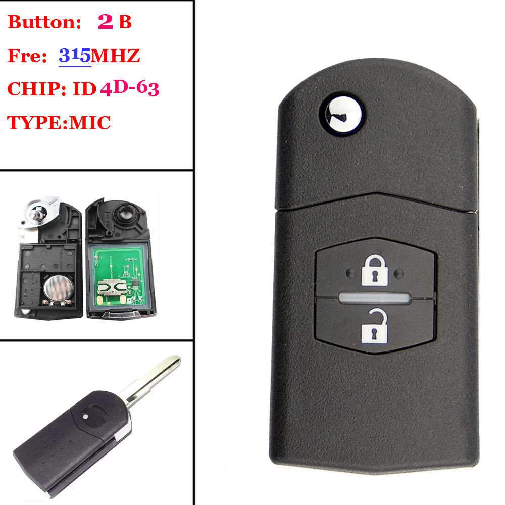 Good quality (1pcs )2 Buttons REPLACEMENT KEY 315MHz 315MHZ 4D63 80Bits Chip Folding Flip Car Remote Key Fob FOR MAZDA 1pcs 2 button flip folding remote car key 433mhz with id83 4d63 transponder chip for mazda 3 6 m3 m5 m6 uncut blade
