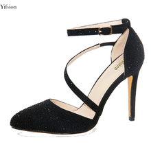 Yifsion New Women Pumps Thin High Heel Pumps Stylish Buckle Strap Pointed  Toe Party Prom Black cc6eacb2580d