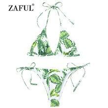 222f67d0e6e75 ZAFUL Women's Swimsuit Swimwear Leaf Print String Bikini Set Women Leaves  Palm Tie