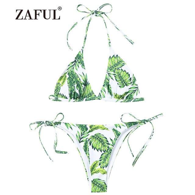 568c907078e ZAFUL Women's Swimsuit New Leaf Print String Bikini Set Swimwear Women  Leaves Palm Tie Side Padded Swimmer Sexy Low Waist Bikimi