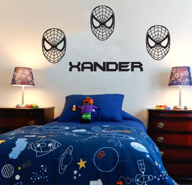 3d Spiderman Personalized Name Spiderman Wall Stickers For Kids Room DIY  Vinyl Wall Decal For Boys Kids Room Superman Super Hero