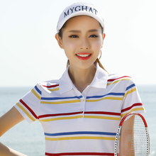 Brand Girls Poloshirt print Casual Short Sleeve Polo Shirts Women 2017 Summer Cotton High Quality Plus Size Polo Femme Tops P017