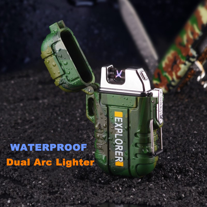 USB Cigarro Eletrônico Mais Leve Portátil à prova d' água Arco Duplo Jato Mais Leve Dispositivo De Ignição Para Os Exploradores Flamless Recarregável