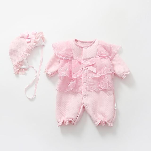 Bebé recién nacido ropa de la muchacha vestido formal infantil otoño y el invierno de algodón wadded princesa mamelucos del cordón de la ropa del bebé