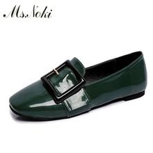 Ms. Noki 2016 women sandel Genuine Leather low Heel Shoe Woman Brand metal decoration ladies Pumps non-leather casual shoe black
