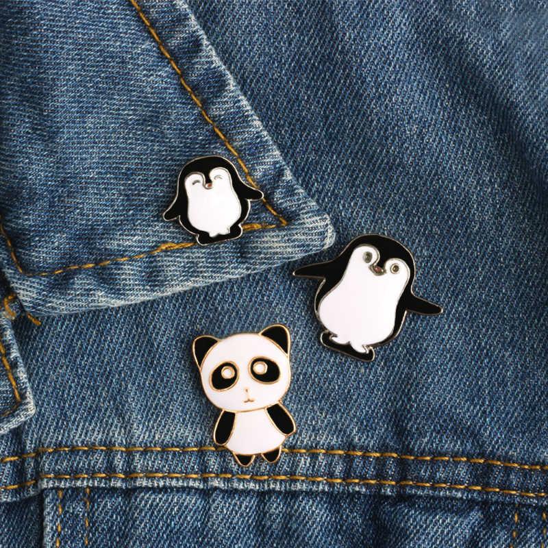 2-5 Pcs/set Kucing Anjing Panda Penguin Kartun Hewan Bros Lebah Kelinci Buah Enamel Pin Tombol Pin Denim Jaket pin Anak Perhiasan