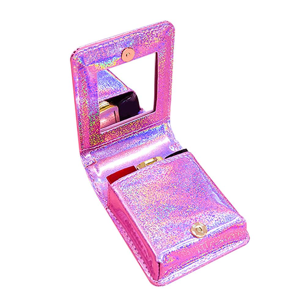 Women Laser Love Pattern Mirrored Mini Lipsticks Case Makeup Bag Clutch Cosmetic Pouch