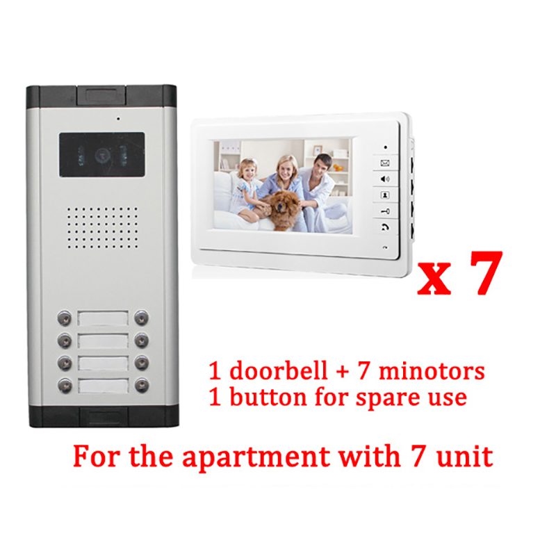 Apartment 7 Unit Intercom Entry System Wired Video Door Phone Audio Visual 7 LCD 1 HD Outdoor Camera With 7 monitor diysecur 7 4 wired apartment video door phone audio visual intercom entry system ir camera for 6 families