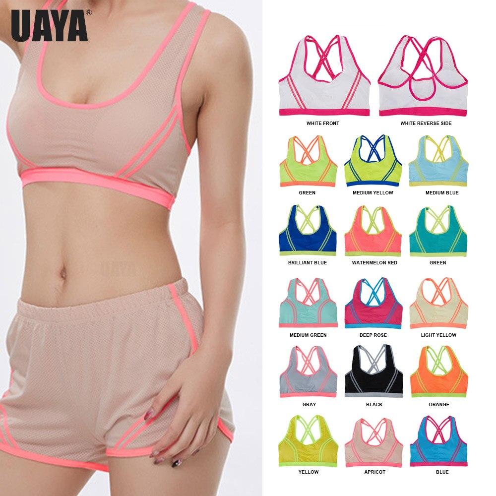 ✔  UAYA 14 цвет Женщины Yoga Мягкая Спортивная Рубашка Женщины Ударопрочные Спортивные Бюстгальтеры Дыш ①