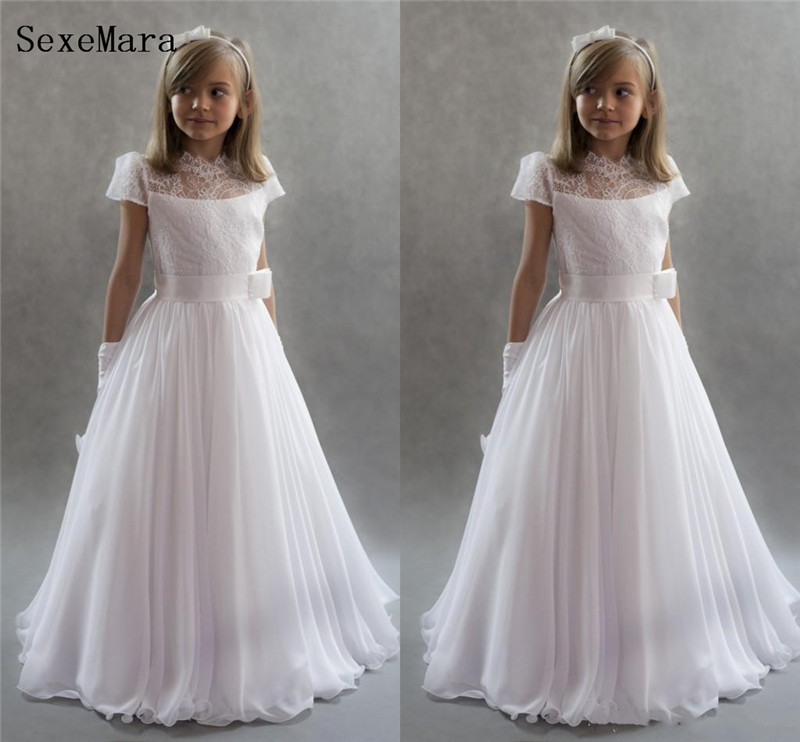 New Coming A-line Princess   Dress   with Lace Appliques Chiffon   Flower     Girl     Dress   with Belt Customized Holy First Communion Gowns