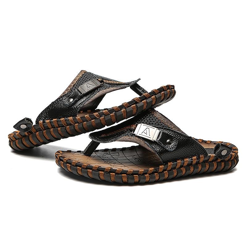 Valstone Marka Luksuzni pravi kožni papuče Muška ljetna prirodna - Muške cipele - Foto 4