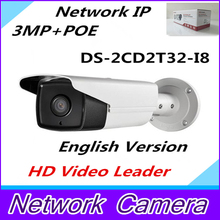 free shipping english version ,3MP EXIR Bullet Camera w/POE,3D DNR Network IP camera DS-2CD2T32-I8