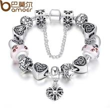Bamoer Charm Bracelet With European Style Pink Murao Glass Beads For Women Valentine's Day Gift SDP1825