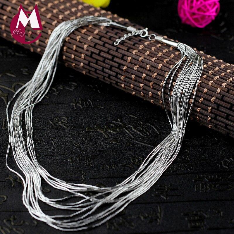 Nouveauté 100% 925 colliers en argent Sterling femmes ethnique gland Long collier et pendentifs chaîne Simple bijoux fins cadeau SN05