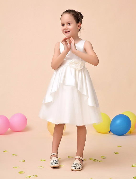 2016 Girl Dress girls Kids Dress Children Wear White Red Princess Party Wedding Dresses With 3D Flower azel 4 12t children party wear short front long back formal dress white princess wedding flower girl vestidos girls clothes