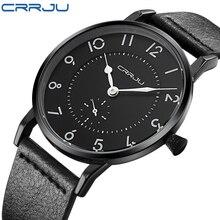 Nueva Moda Casual Hombres Reloj de Cuarzo de Los Hombres Relojes Deportivos CRRJU Marca de Lujo Súper delgada Correa de Cuero Reloj de Los Hombres Relogio Masculino