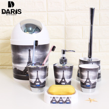 Bathroom Accessory Bin Soap Dish Dispenser Bottle Toothbrush Holder Bath Set 6PCS