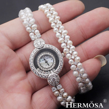 ФОТО hermosa exclusive pearl watch party show gift japan quartz 30m water resistant stainless stell back wristwatch 14.5 inches new