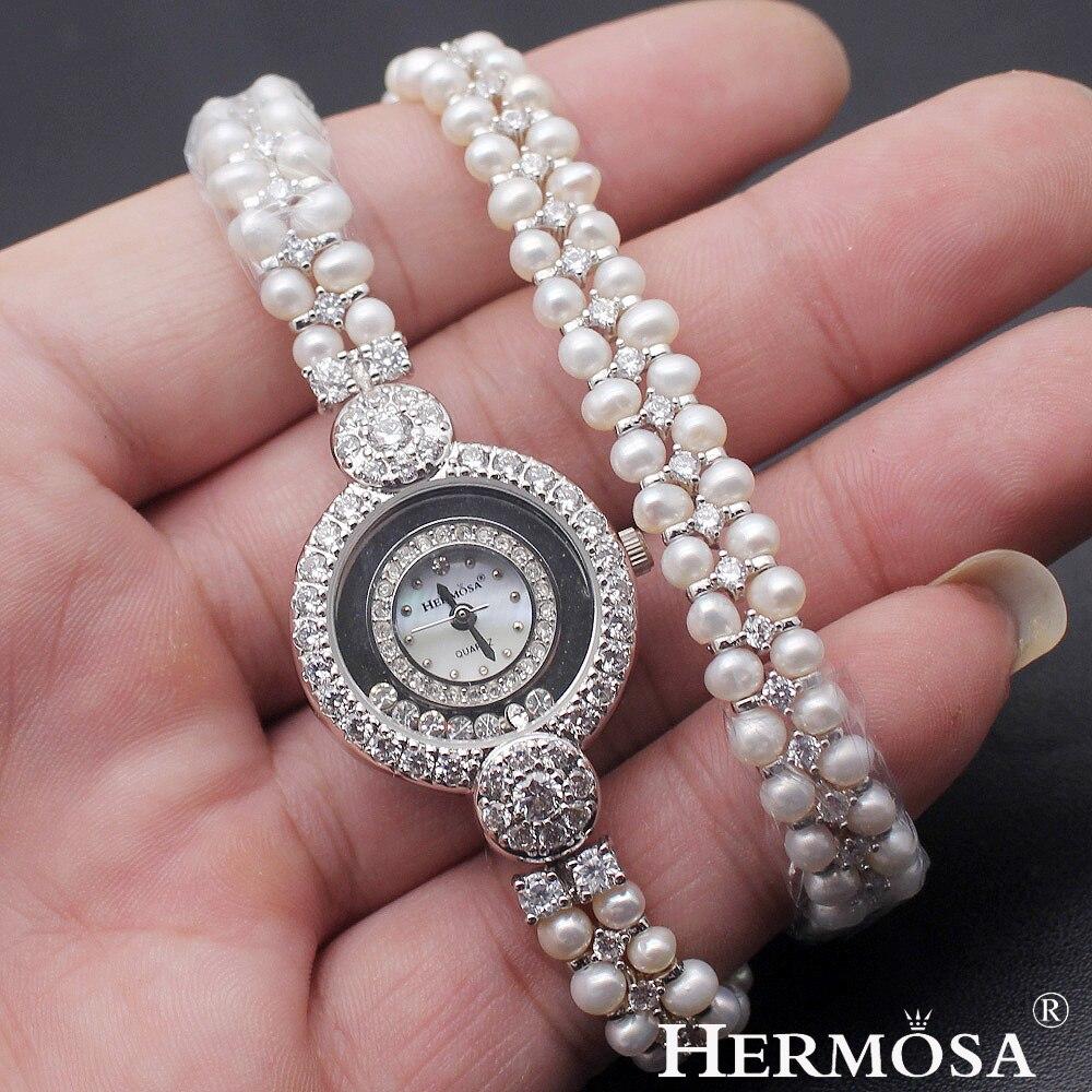 Hermosa exclusif perle montre partie spectacle cadeau japon Quartz 30 M résistant à l'eau en acier inoxydable retour montre-bracelet 14.5 pouces nouveau