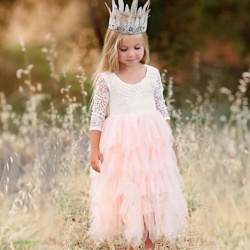 Autumn Long Sleeve Girl Dress Lace Flower 2018 Backless Beach Dresses White Kids Wedding Princess Party Pageant Girl Clothes 8T autumn girl dress rose floral short sleeve princess baby girls lace dresses with 3 bow belt kid party wedding clothes 3 8t